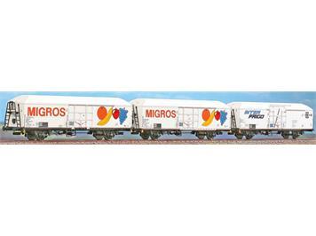 A.C.M.E. 90100 FS 3er Set Migros Kühlwagen mit britischem Lichtraumprofil - SOSE CH