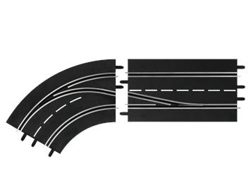 Carrera 20030362 D132, D124 Spurwechselkurve links, innen nach außen