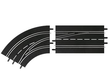 Carrera 20030363 D132, D124 Spurwechselkurve links, außen nach innen
