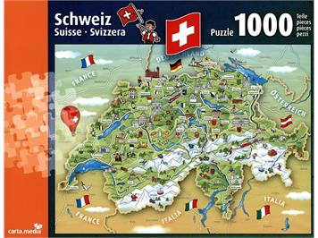 Carta.Media 7221 Puzzle Illustrierte Schweizerkarte (1'000 teilig)