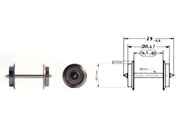 Fleischmann 6561 Austausch-Radsatz 25mm