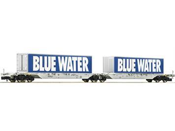 """Fleischmann 825326 Doppeltragwagen Bauart Sggmrs """"Blue Water"""", AAE"""
