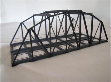 HACK 13040 HO Bogenbrücke 24 cm 2-gleisig grau, B24-2 Fertigmodell aus Weissblech
