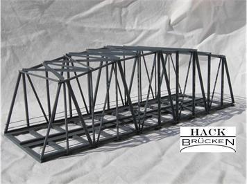HACK 13200 HO Bogenbrücke 30 cm 2-gleisig grau, B30-2 Fertigmodell aus Weissblech