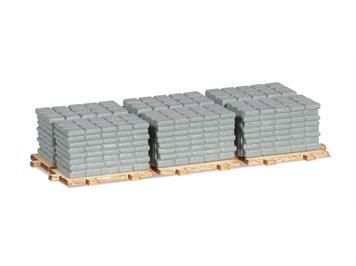 Herpa 053617 H0 LKW Zubehör Ladegut Gehwegplatten auf Paletten 2x