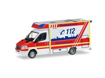Herpa 092340 MB Sprinter '13 Fahrtec Rettungswagen WerkFW Salzgitter