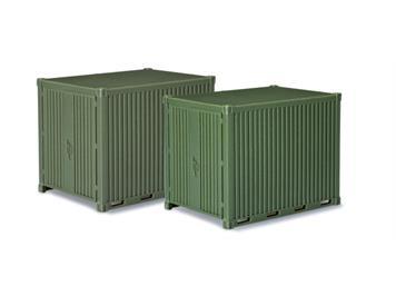 Herpa 744713 Zubehör 10 ft. Gerätecontainer, 2 Stk (Minitanks 585) HO