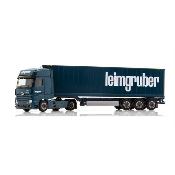 """Herpa 935920 Mercedes-Benz Actros Gigaspace Container-Sattelzug """"Leimgruber"""" CH"""
