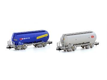 Hobbytrain 23483 SBB 2 Silowagen Uacs SBB Lebensmittel (blau) und grau N