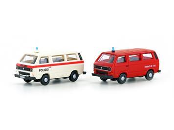 Hobbytrain Minis 4335 2tlg. Set VW T3 Polizei und Feuerwehr CH, N