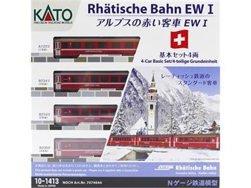 Kato 7074044 (10-1413) RhB Einheitswagen-Grundset EWI 4-teilig