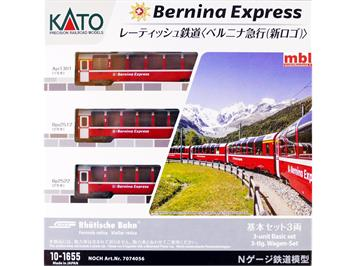 Kato 7074056 (10-1655) Bernina-Express 3-teiliges Personenwagenset, N