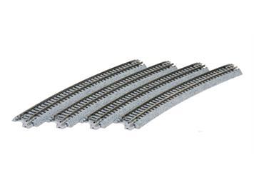 Kato 7078108 Gleis gebogen (20-150) R-718-15°, Weichengegenbogen, 4 Stück