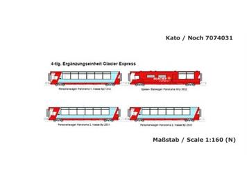 """Kato 74031 (10-1146) Ergänzungsset """"Glacier Express"""" 4teilig N"""