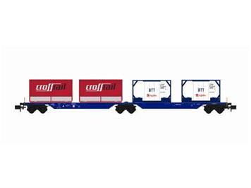 Kato DB Tragwagen blau mit 4 Containern