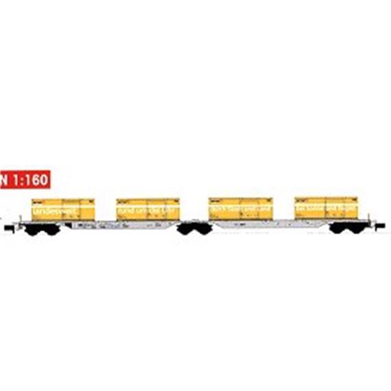 Kato SBB Tragwagen grau mit 4 Post-Containern
