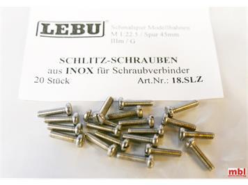 LEBU 18.SLZ Schlitz-Schrauben INOX rostfrei A2 (20 Stück)