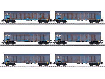 Märklin 47189 Sechs Hochbordwagen Ealnos 201 im Einsatz der NS Cargo, H0