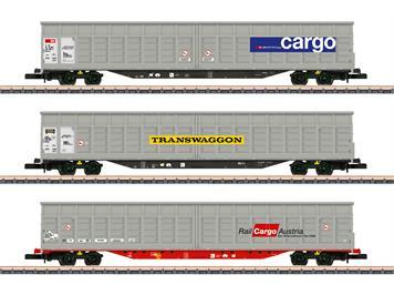 Märklin 82418 3 Schiebewandwagen-Set, SBB Cargo-Transwaggon Zug (CH)-Rail Cargo Austria, Z
