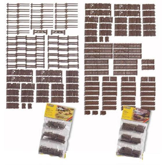 NOCH 33096 Gartenzäune Großpackung, 72 Teile, ges. ca. 150 cm Spur N