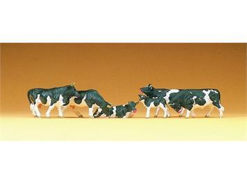 Preiser 10155 Figuren Kühe schwarz/weiss