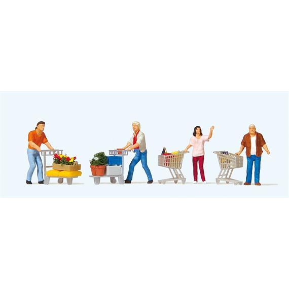 Preiser 10722 Kunden mit Einkaufswagen HO