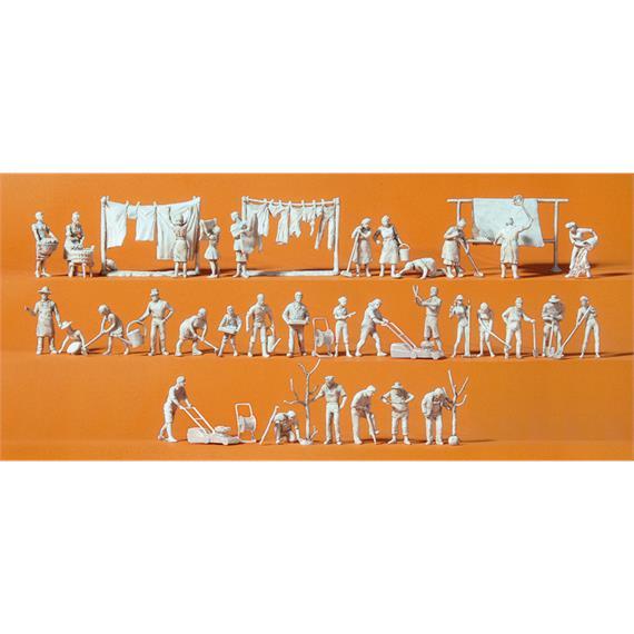 Preiser 16361 Bei der Haus- und Gartenarbeit, 33 unbemalte Figuren HO