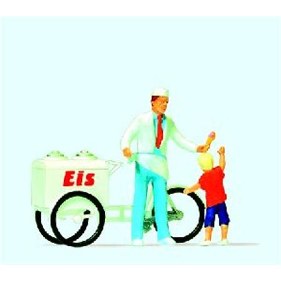 Preiser Eisverkäufer mit Eiswagen und Kind HO