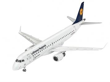 Revell 63937 Model Set Embraer 190 Lufthansa Regional 1:144 mit Farben, Leim und Pinsel