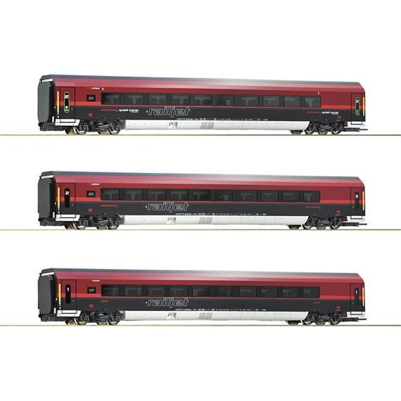 Roco 74088 3-tlg. Set: Railjet, ÖBB, ausführung mit Zonenbeschriftung, AC Wechselstrom