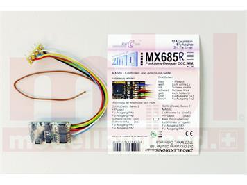 ZIMO MX685R Funktionsdecoder, 8 FU-Ausgänge an Litzen mit 8pol. Stecker