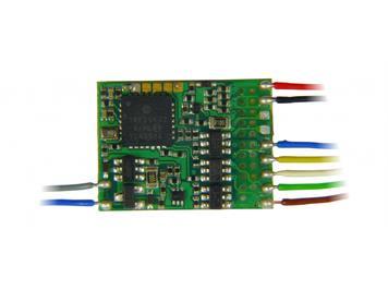 ZIMO MX686 Funktionsdecoder an Litzen, 6 Fu-Ausgänge, 2 Servos, Energiespeicheranschluss