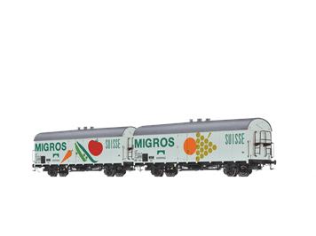 """Brawa 47611 KÜHLWAGEN IBS 394 """"INTERFRIGO - MIGROS"""" DER DB, 2ER-SET, H0"""