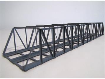 HACK 21210 N Kastenbrücke lang 35 cm 2gleisig grau, KN35-2 Fertigmodell aus Weissblech