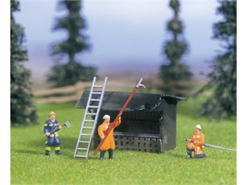 NOCH Feuerwehr-Einsatz, 3 Figuren, 1 Hütte, Zubehör Spur H0 - ausverkauft 3.3013