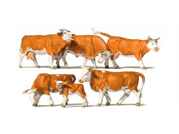 Preiser 10146 Kühe, braun gefleckt HO