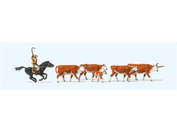 Preiser 10159 Langhornrinder, Cowboy zu Pferd, H0