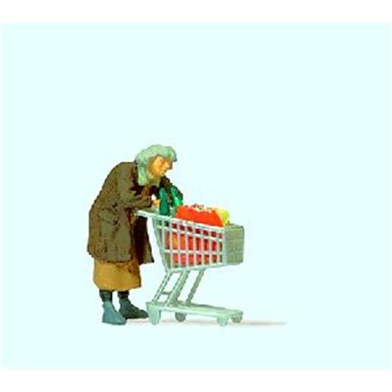 Preiser Obdachlose mit Einkaufswagen HO