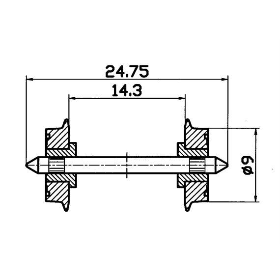 Roco 40197 Radsatz 2fach isoliert DC 9mm (2)
