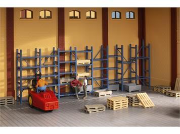 Auhagen 41660 Schwerlastregal und Paletten H0