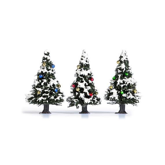 Busch 6464 3 verschneite Weihnachtsbäume mit Kugeln HO / TT