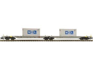 """Fleischmann 825333 Doppeltragwagen Bauart Sggmrs, AAE mit """"MOL""""-Containern N"""
