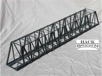 HACK 11450 HO Kastenbrücke 63 cm massive Streben grau K63, Fertigmodell aus Weissblech