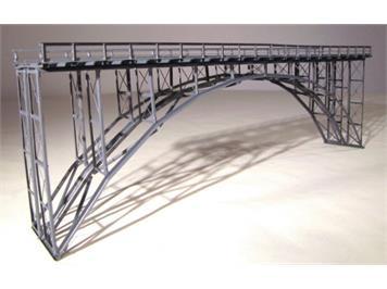 HACK 23220 N Hochbogenbrücke 32cm 2gleisig grau HN32-2, Fertigmodell aus Weissblech