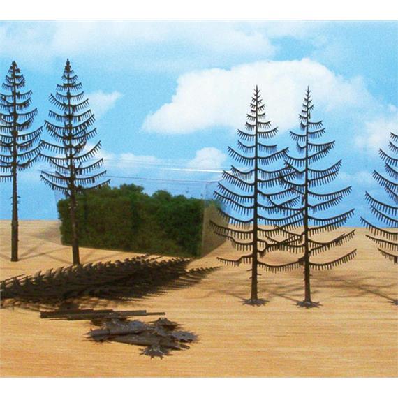 Heki 1970 15 Bäume im Bausatz kpl. (10 Rohlinge 18 - 22 cm mit Flocken)