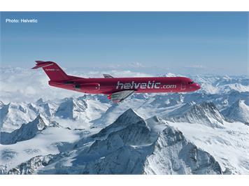 Herpa 559966 Helvetic Fokker 100, magenta