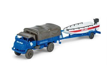 Herpa/Minitanks Unimog S404 + Bootsanhänger