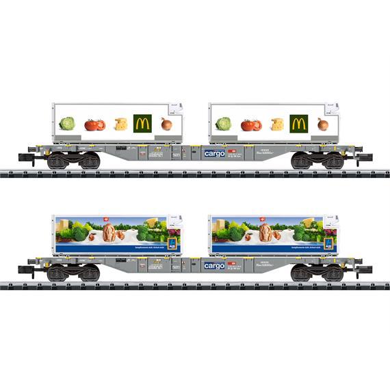 "Minitrix 15488 SBB Containertragwagen-Set ""Lebensmittel-Kühltransport"" McDonald's und Aldi"