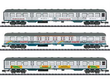 """Minitrix 18213 3er Personenwagen-Set """"Silberlinge mit Werbung"""", Spur N (1:160)"""