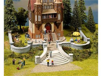 NOCH Villenmauer-Set mit Treppe, und Rundbögen, 5 Teile Spur H0